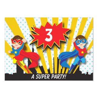 Twins Superhero Birthday Card