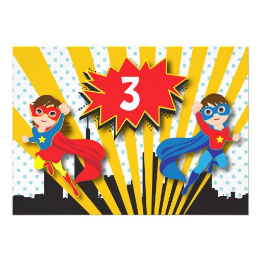 Twins Superhero Birthday Announcement