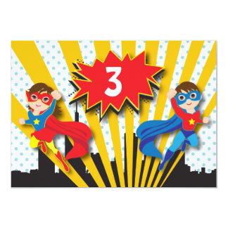 "Twins Superhero Birthday 5"" X 7"" Invitation Card"