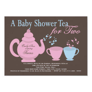 Twins Tea Party Baby Shower Card