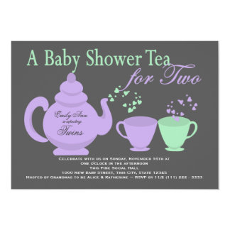 Twins Tea Party Purple Green Baby Shower 5x7 Paper Invitation Card
