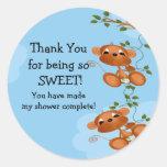 Twins Thank You Monkey Baby Shower Sticker