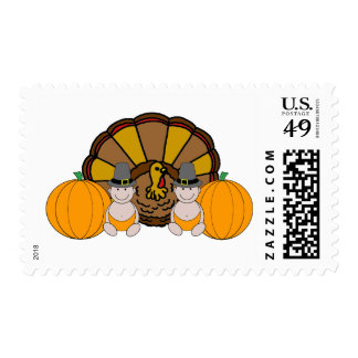 Twins Thanksgiving Graphic Postage Stamp