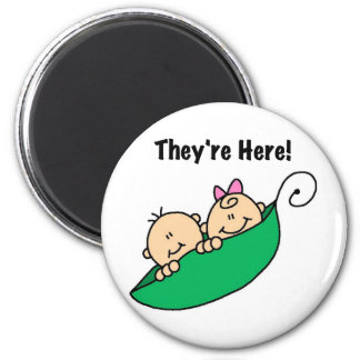 Twins They're Here 2 Inch Round Magnet
