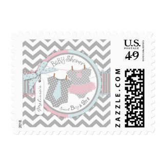 Twins Tie and Tutu Chevron Print Baby Shower Postage