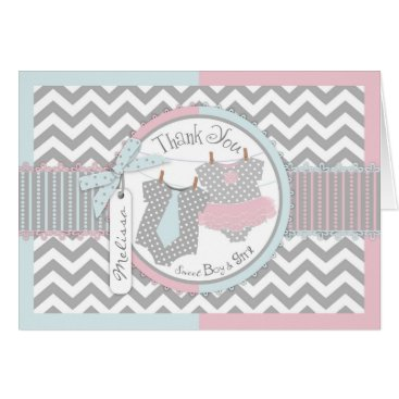 Twins Tie and Tutu Chevron Print Thank You Card