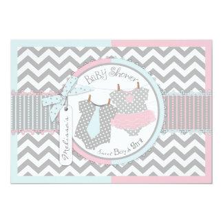 Twins Tie Tutu Chevron Baby Shower 5x7 Paper Invitation Card