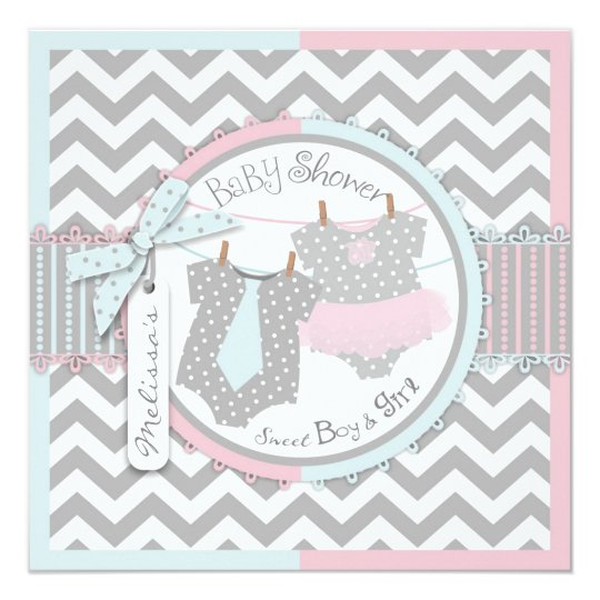 Twins Tie Tutu Chevron Baby Shower Card
