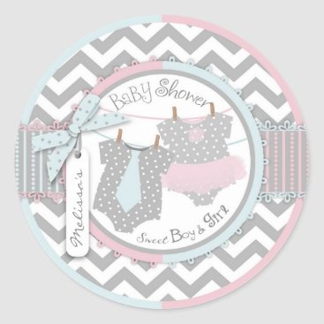 Twins Tie Tutu Chevron Baby Shower Classic Round Sticker
