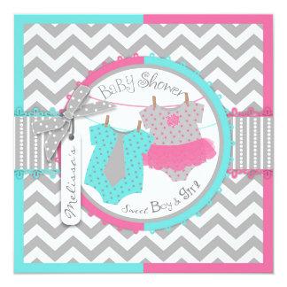 Twins Tie Tutu Chevron Baby Shower Announcement Card