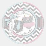 Twins Tie Tutu Chevron Baby Shower Classic Round Sticker