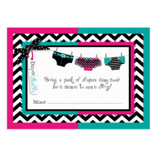 Twins Tie Tutu Diaper Raffle Ticket Large Business Cards (Pack Of 100)