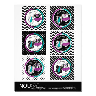 Twins Tie Tutu Mix Print Large Cupcake Toppers Flyer