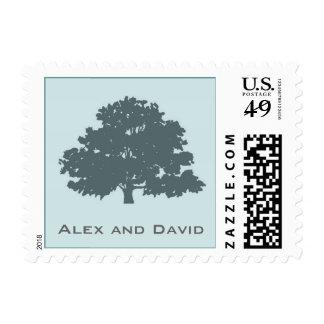 Twins Tree of Life Bar Bat Mitzvah Blue Postage Stamp