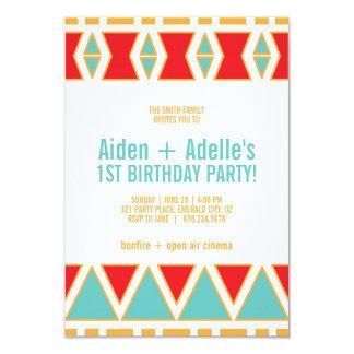 twins tribal BIRTHDAY PARTY invitation BOY or GIRL