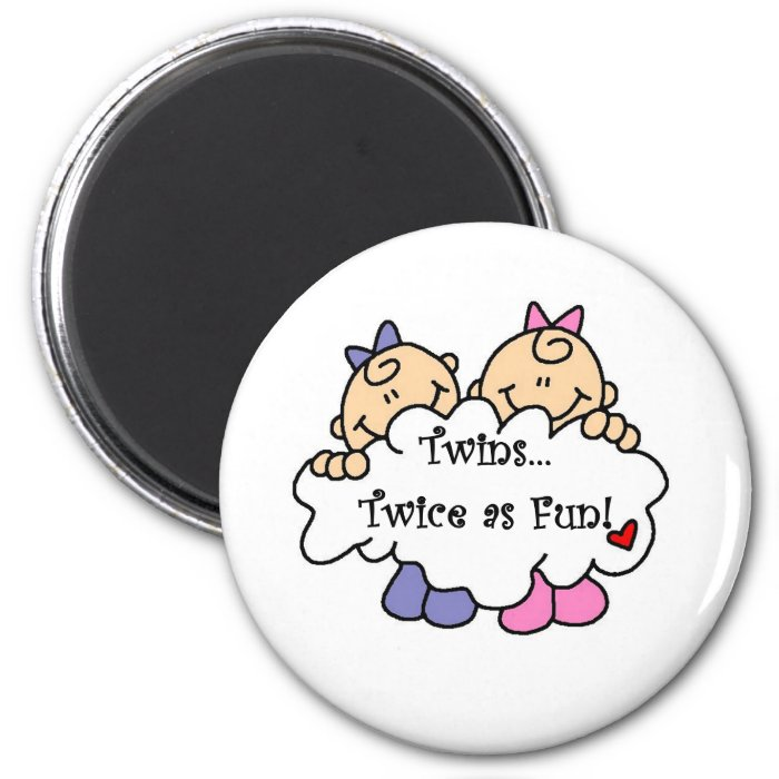 Twins Twice as Fun 2 Inch Round Magnet