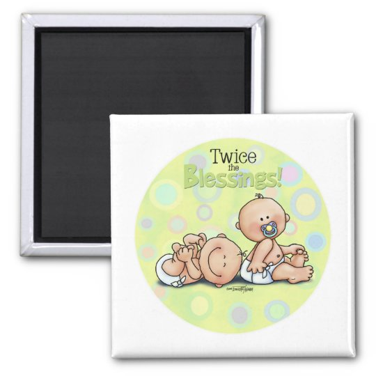 Twins - Twice the Blessings 2 Inch Square Magnet