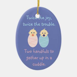 Twins = Twice the Joy Ceramic Ornament