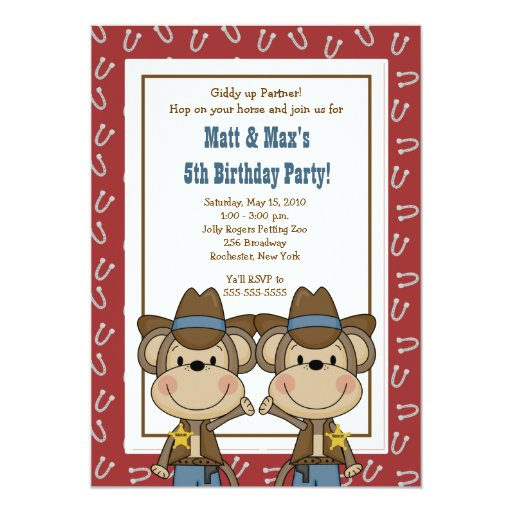 TWINS Twin Boys Western Cowboy Monkey 5x7 Birthday Card