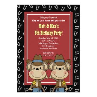 """TWINS Twin Boys Western Cowboy Monkey 5x7 Birthday 5"""" X 7"""" Invitation Card"""