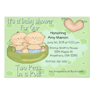 "Twins two peas in a pod baby shower 5"" x 7"" invitation card"