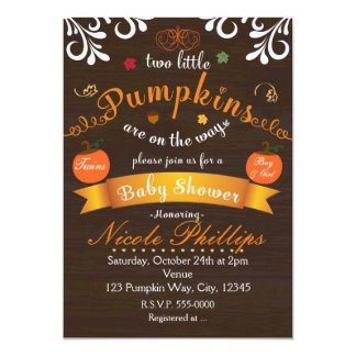 Twins Two PUMPKINS Autumn BABY SHOWER Invitation