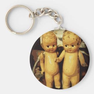 Twins Vintage Dolls Basic Round Button Keychain