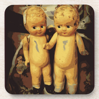 Twins Vintage Dolls Drink Coaster