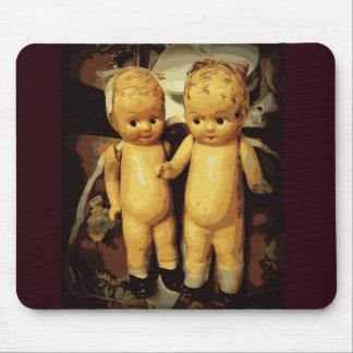 Twins Vintage Dolls Mouse Pad