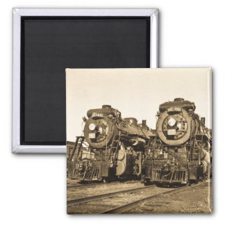 Twins Vintage Locomotive Train Engines 2 Inch Square Magnet