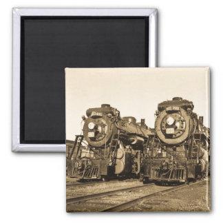 Twins Vintage Locomotive Train Engines Refrigerator Magnets