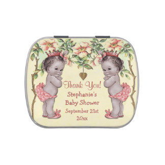 Twins Vintage Princess Baby Shower Thank You Favor Jelly Belly Tins