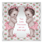 Twins Vintage Princess Roses Silver Baby Shower Card