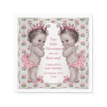 Twins Vintage Princess Roses Silver Baby Shower Napkin