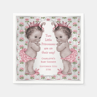 Twins Vintage Princess Roses Silver Baby Shower Napkin