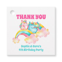 Twins Watercolor Rainbow Unicorn Birthday Party Favor Tags