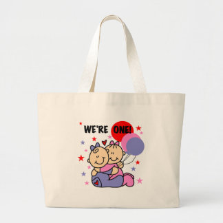 Twins We're One Birthday Canvas Bags