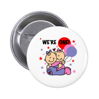 Twins We're One Birthday Pin