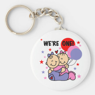 Twins We're One Birthday Tshirts and Gifts Basic Round Button Keychain