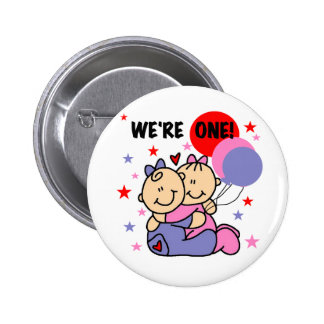 Twins We're One Birthday Tshirts and Gifts Pinback Buttons