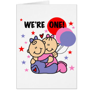 Twins We're One Birthday Tshirts and Gifts Card