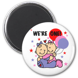 Twins We're One Birthday Tshirts and Gifts Fridge Magnet