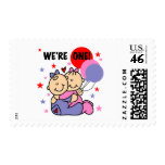 Twins We're One Birthday Tshirts and Gifts Postage Stamp