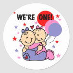 Twins We're One Birthday Tshirts and Gifts Stickers