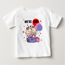 Twins We're One First Birthday Baby T-Shirt