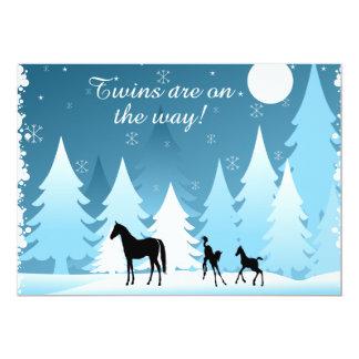Twins Winter Night Deer Horse Shower Invitation