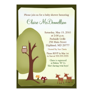 "TWINS Woodland Forest  5x7 Baby Shower Invitation 5"" X 7"" Invitation Card"