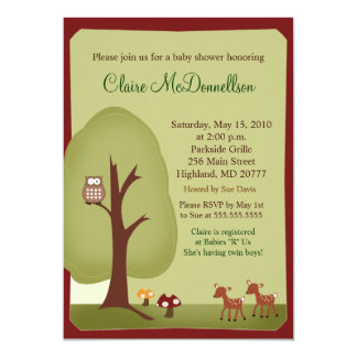 TWINS Woodland Forest  5x7 Baby Shower Invitation