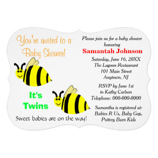 Twins Yellow Bumble Bee Baby Rattles Baby Shower Invites