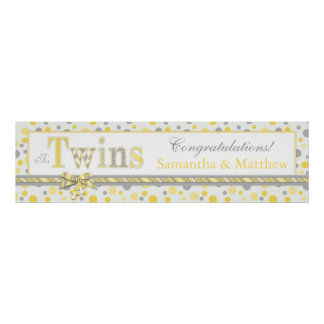 TWINS Yellow Gray Dots Baby Shower Banner Posters